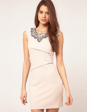 Image 1 of Lipsy Satin Dress With Embroidered Neck