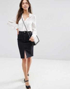 ASOS Denim Pencil Skirt in Washed Black