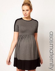 ASOS Maternity Exclusive Skater Dress In Color Block