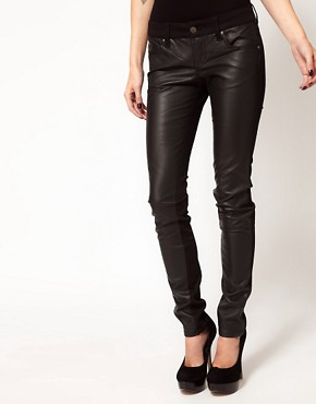 Image 1 ofTripp Nyc Leather Look Front Panel Skinny Jeans
