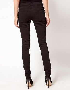 Image 2 ofTripp Nyc Leather Look Front Panel Skinny Jeans