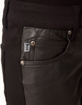 Image 3 ofTripp Nyc Leather Look Front Panel Skinny Jeans