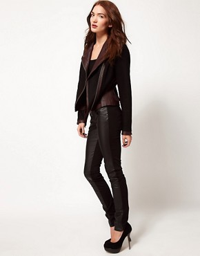 Image 4 ofTripp Nyc Leather Look Front Panel Skinny Jeans