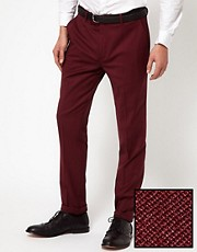 ASOS Skinny Fit Suit Trousers in Burgundy Polywool