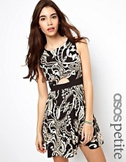 ASOS PETITE Exclusive Skater Dress in Scarf Print with Cut Out Detail