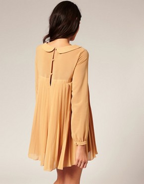 Image 2 ofTFNC Peter Pan Collar Chiffon Pleat Dress
