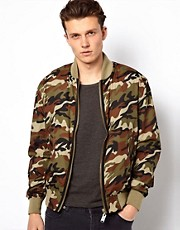 Wolsey Bomber Jacket In Camo