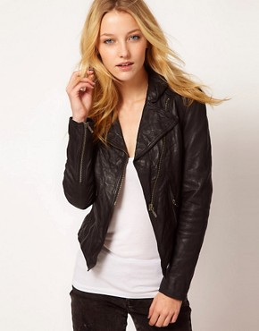 Image 1 ofBarneys Original Leather Jacket With Asymmetric Zip