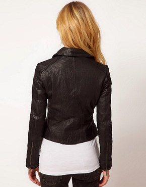 Image 2 ofBarneys Original Leather Jacket With Asymmetric Zip