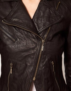 Image 3 ofBarneys Original Leather Jacket With Asymmetric Zip