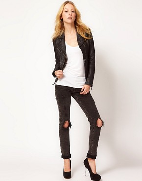 Image 4 ofBarneys Original Leather Jacket With Asymmetric Zip