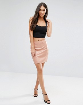 Boohoo Leather Look Skirt