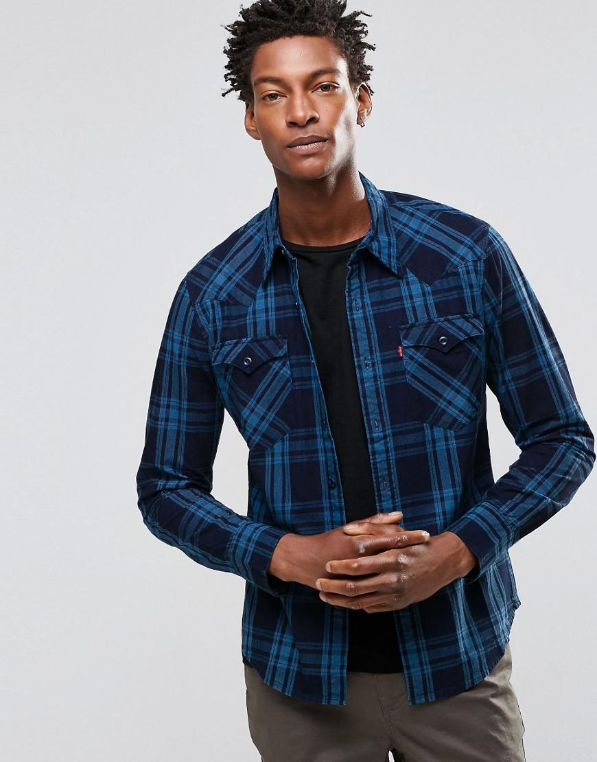 Клетчатая рубашка цвета индиго в стиле вестерн Levi's Barstow - Синий