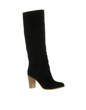 Image 1 ofASOS CASSIE Block Heel Suede Long Leg Boot