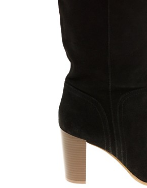 Image 2 ofASOS CASSIE Block Heel Suede Long Leg Boot
