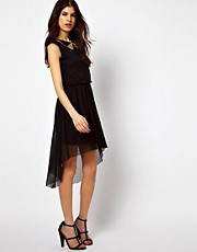 Warehouse Dress With Stud Collar And High Low Hem