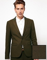ASOS Skinny Fit Suit Jacket in Brown