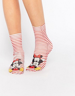 ASOS Disney Minnie And Mickey Mouse Ankle Socks