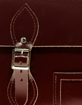 Image 4 ofCambridge Satchel Company Exclusive To ASOS 14&quot; Oxblood Patent Satchel