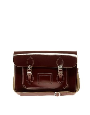 Image 1 ofCambridge Satchel Company Exclusive To ASOS 14&quot; Oxblood Patent Satchel