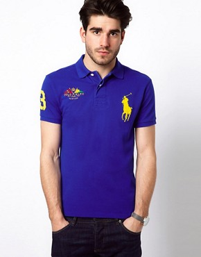 Image 1 ofPolo Ralph Lauren Slim Polo with Large Polo Player - Online Exclusive