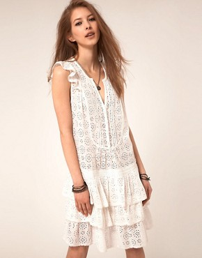 Image 1 ofZadig and Voltaire Flippy Broderie Dress with Raw edge Detail