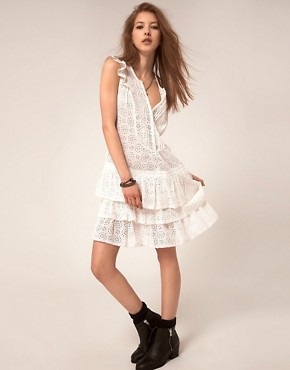Image 4 ofZadig and Voltaire Flippy Broderie Dress with Raw edge Detail