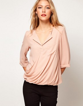 Image 1 ofASOS Blouse With Drop Wrap Placket
