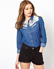 A Wear Embroidered Yoke Denim Shirt