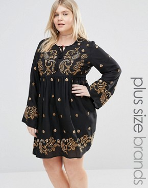 Alice & You Long Sleeve Skater Dress With Paisley Embroidery