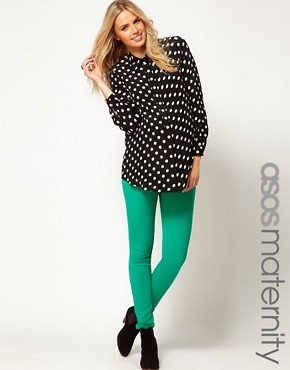Image 1 ofASOS Maternity Exclusive Skinny Jean In Emerald Green