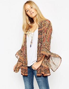 ASOS 70s Folk Sleeve Kimono in Paisley Print