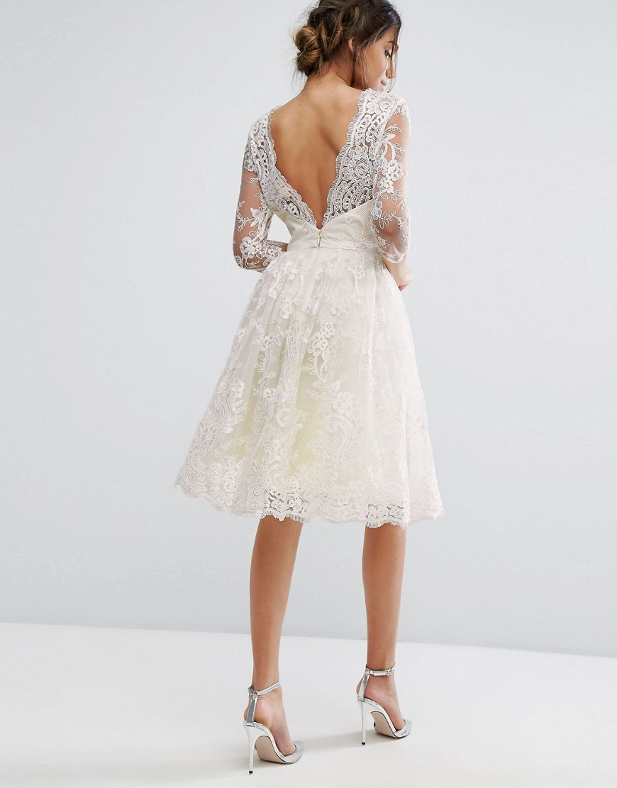Chi Chi London Lace Midi Dress With Scallop V Back