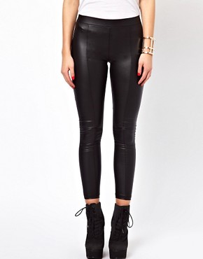 Image 4 ofGlamorous Leather Look Seamed Leggings