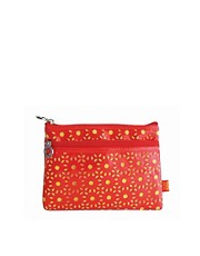 Tender Love &amp; Carry Cut Out Make-Up Bag - Coral &amp; Yellow