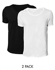 ASOS &ndash; T-Shirt mit U-Ausschnitt im 2er-Set, Wei/Schwarz, SIE SPAREN  2