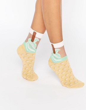 ASOS Sheer Ice Cream Ankle Socks