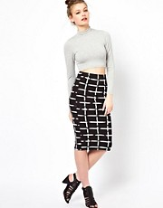 A Wear Midi Check Print Tube Skirt