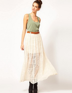 Image 1 ofRiver Island Chelsea Girl Lace Maxi Skirt