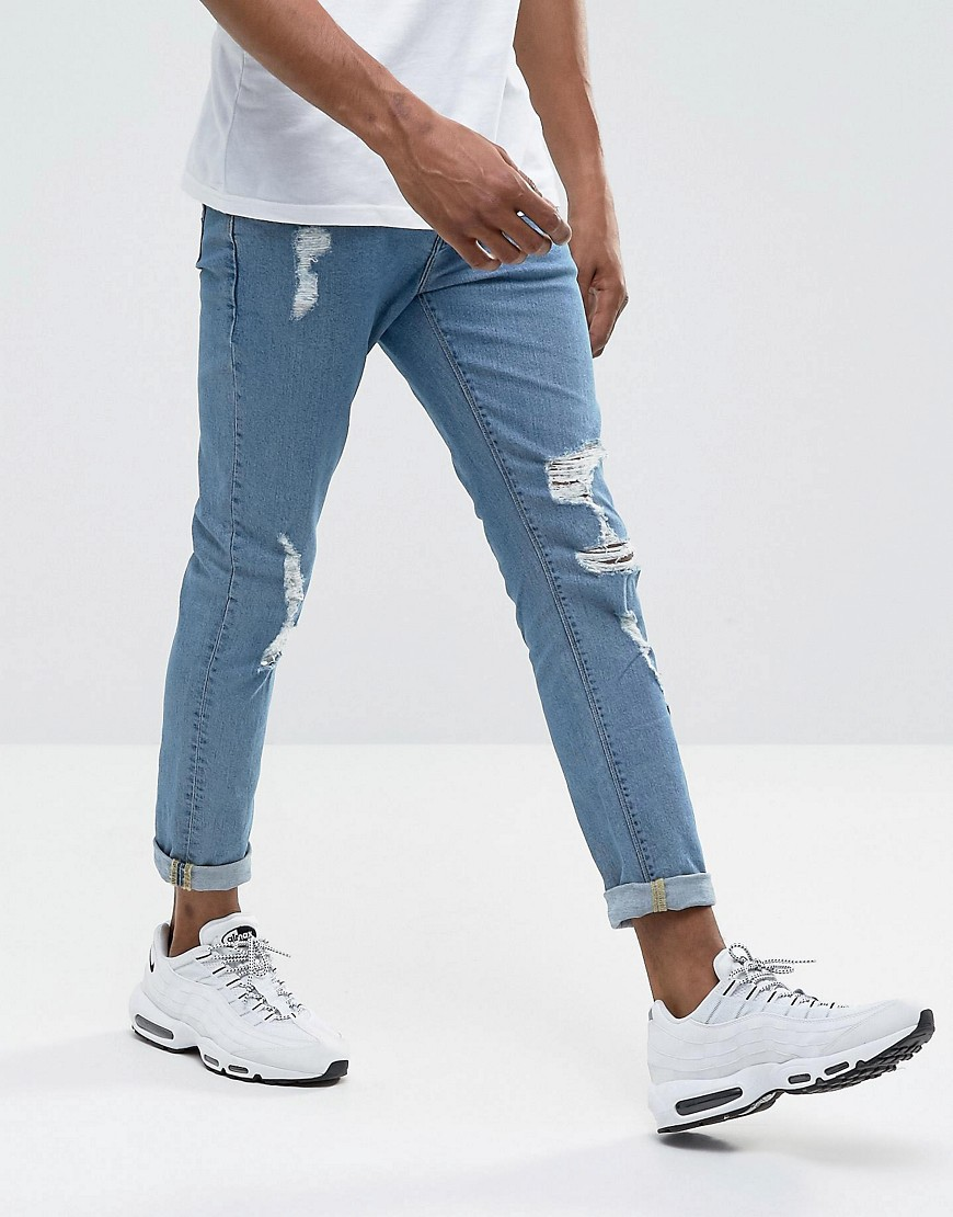 ASOS Skinny Jeans In Mid Wash With Heavy Rips - Mid wash vintage