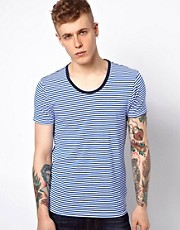 Scotch &amp; Soda T-Shirt With Stripe Scoop Neck