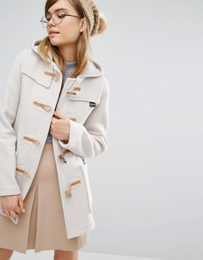 Gloverall Fiitted Duffle Coat with Hood in Oatmeal
