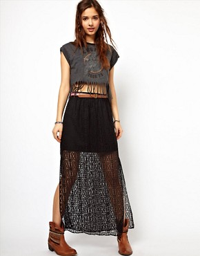 Image 1 ofRiver Island Lace Overlay Skirt With Belt