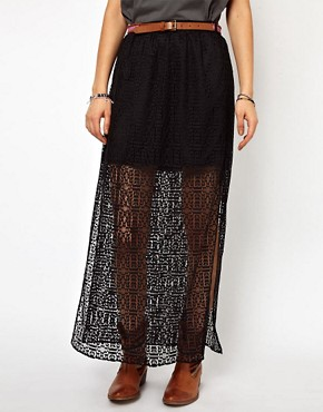Image 4 ofRiver Island Lace Overlay Skirt With Belt