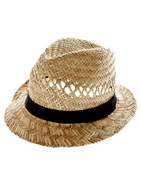 Bild 2 von ASOS  Trilby-Hut aus Stroh mit schwarzem Band