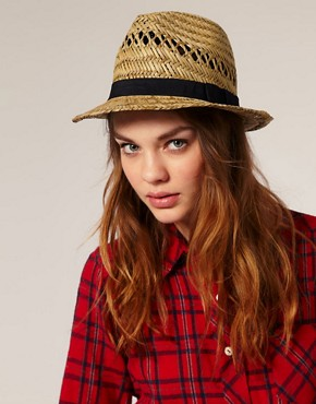 Bild 1 von ASOS  Trilby-Hut aus Stroh mit schwarzem Band