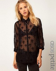 ASOS PETITE Shirt With Velvet Crosses