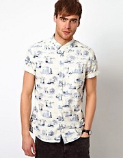 River Island Short Sleeve Shirt with Urban Print