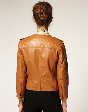 Image 2 ofASOS Collarless Quilted Leather Jacket