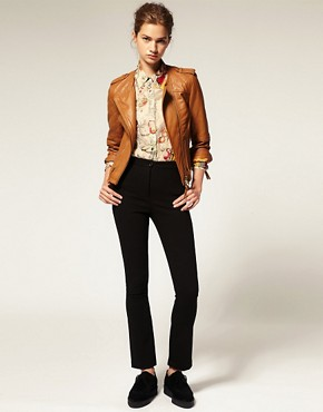 Image 4 ofASOS Collarless Quilted Leather Jacket